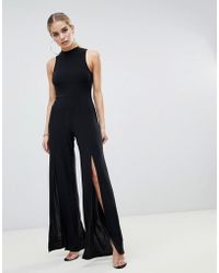 Fashionkilla High Neck Jumpsuit With Front Thigh Split In Black