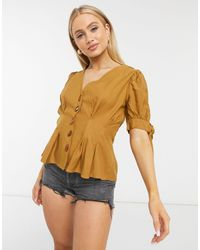 Moon River Fitted Waist Blouse With Stone Detail Buttons - Brown