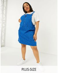 Simply Be Zip Front Pinafore Dress - Blue