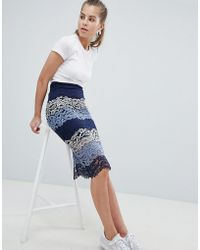 Oeuvre - Lace Panel Midi Skirt - Lyst
