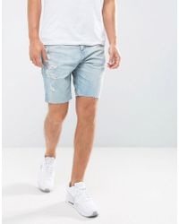 Hollister Denim Shorts Destroyed Bleach Wash - Blue