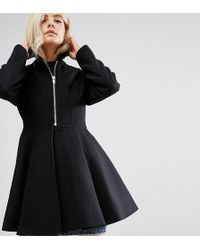 ASOS - Swing Coat With Full Skirt And Belt - Lyst