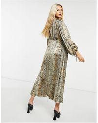 Object Satin V Neck Midi Dress With Volume Sleeves - Multicolour