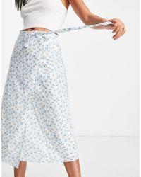 Fashion Union – Wickel-Midirock mit Retro-Blumenmuster, Kombiteil - Mehrfarbig