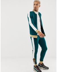 ASOS Bomber Jacket/skinny Sweatpants In Retro Track Fabric With Tiger Embroidery And Glitter Ribs - Green