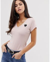 G-Star RAW Organic Cotton T-shirt With Heart Detail - Pink
