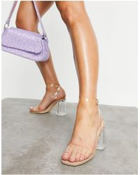 Truffle Collection Clear Heeled Sandals - Natural