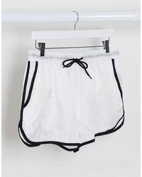 ASOS – Schlichte Bade-Laufshorts aus Ripstop-Material mit schwarzer Schnürung und weißer Innenhose