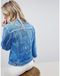 Replay - Collarless Denim Jacket With Raw Hem Sleeve And Embroidery - Lyst