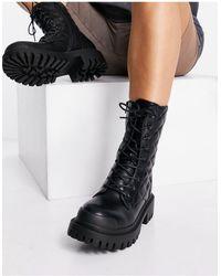 Public Desire Черные Ботинки До Щиколотки На Массивной Плоской Подошве -черный Цвет