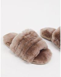 ASOS Серо-коричневые Премиум-слиперы Из Овчины - Коричневый
