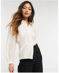 Vero Moda Кремовая Шелковистая Блузка С Защипами На Талии -белый - Естественный