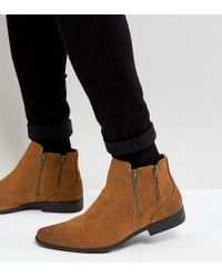 ASOS - Asos Wide Fit Chelsea Boots With Zip Detail In Tan Faux Suede - Lyst