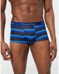 Calvin Klein – Gestreifte Unterhose mit niedrigem Taillenbund - Blau