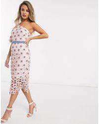Chi Chi London One Shoulder Lace Pencil Dress - Pink