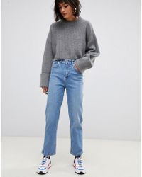 ASOS Farleigh - Jeans Met Rechte Pijpen En Hoge Taille In Stone Wash Blue - Blauw