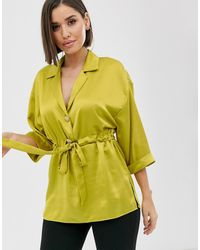 River Island Satin Shirt With Gathered Waist In Chartuese - Yellow