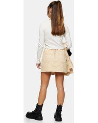 Topshop Unique Quilted Denim Skirt - Natural