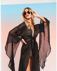 ASOS Swim Glam Maxi Beach Kimono With exaggerated Sleeves - Black