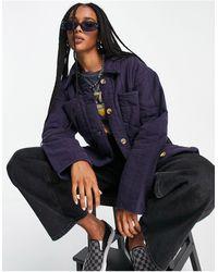 TOPSHOP Camicia giacca trapuntata navy slavato - Blu