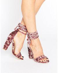 Missguided - Crushed Velvet Wrap Around Heeled Sandal - Lyst