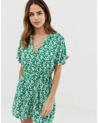 Abercrombie & Fitch Playsuit In Print - Green