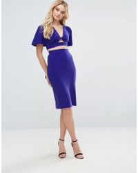 Love Twist Wrap Pencil Skirt - Blue
