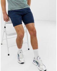 D-Struct Turn Up Slim Chino Shorts - Blue