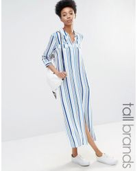 ADPT - Side Split Stripe Shirt Dress - Lyst
