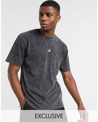 Reclaimed (vintage) Inspired Pocket T-shirt In Washed Black-черный
