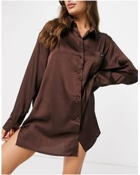 Public Desire - Relaxed Satin Night Shirt With Embroidered Pocket - Lyst