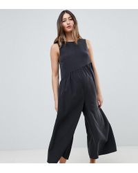 82a29293bb3f ASOS - Asos Design Maternity Minimal Jumpsuit With Gathered Waist And Wide  Leg - Lyst