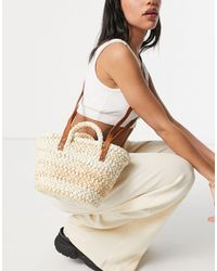 Pull&Bear Woven Basket Bag With Cross Body Strap - Natural