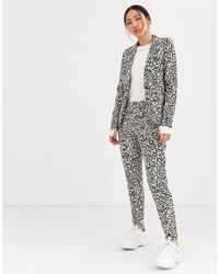 Ichi Pantaloni da abito slim con stampa leopardata - Multicolore
