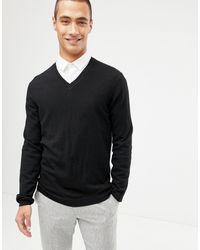ASOS Merino Wool V-neck Sweater - Black
