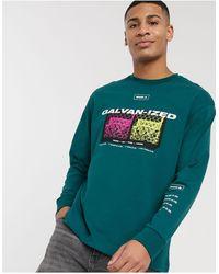 TOPMAN Long Sleeve T-shirt With Print - Green