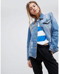Pimkie Distressed Denim Jacket - Blue