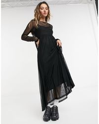Noisy May Vestito lungo a rete nero