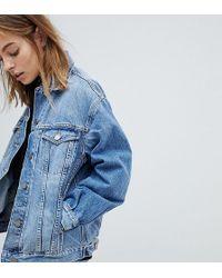 ASOS - Asos Design Petite Denim Girlfriend Jacket In Lightwash Blue - Lyst