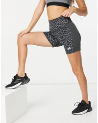adidas Originals Adidas - Training - Shorts a vita alta grigi con stampa leopardata - Grigio