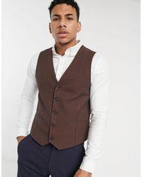 TOPMAN Skinny Suit Waistcoat - Brown