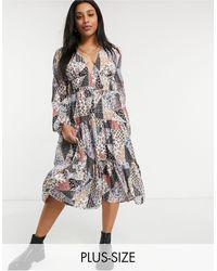 Skylar Rose Plus V-neck Midi Smock Dress - Multicolour