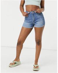 Pimkie Turnup Denim High Waisted Shorts - Blue