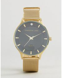 Christin Lars - Gold Crystal Watch With Black Dial - Lyst