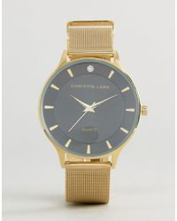 Christin Lars Gold Crystal Watch With Black Dial - Metallic