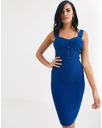 The Girlcode Bandage Bodycon Dress With Tie Detail - Blue