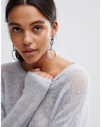 Steve Madden - Silver Drop Hoop Earrings - Lyst