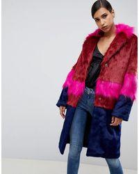 ASOS Cutabout Blocked Fur Faux Coat - Multicolour