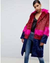 ASOS Cutabout Blocked Fur Faux Coat - Multicolour