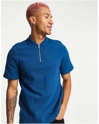 Bolongaro Trevor Zip Through Polo Shirt - Blue